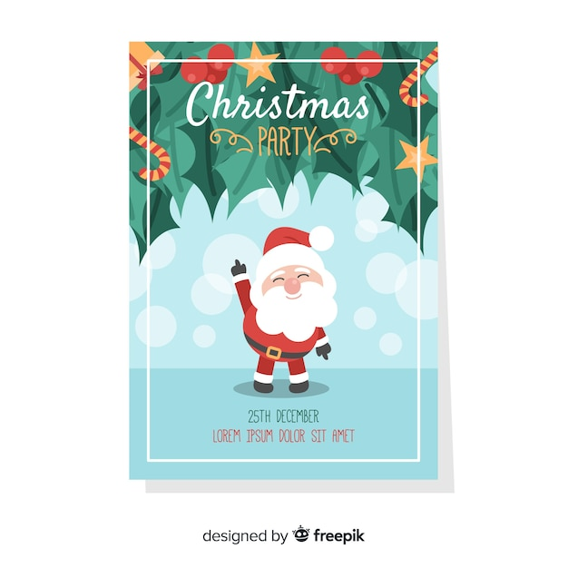 Christmas party flyer/poster Free Vector