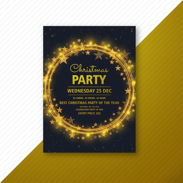 Christmas party flyer  template card brochure Free Vector