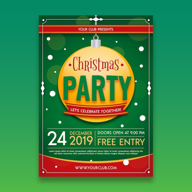 Christmas party flyer template in flat design Free Vector