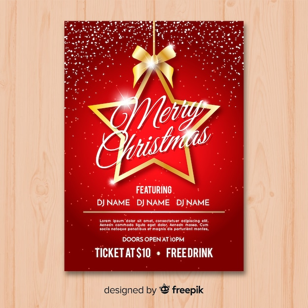 Free Christmas poster in red and gold - Gold Star with red background