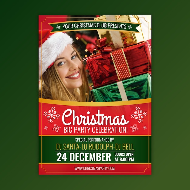 Christmas party flyer template with photo Free Vector