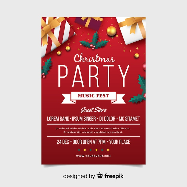 Christmas Party Flyer Template.Christmas Party Flyer Template With Ribbon In Flat Design
