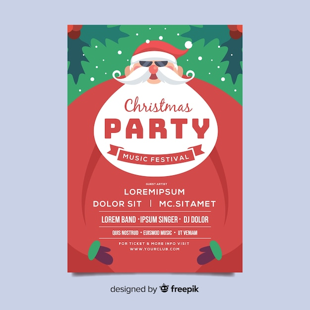 Christmas party flyer template with white beard in flat design Free Vector
