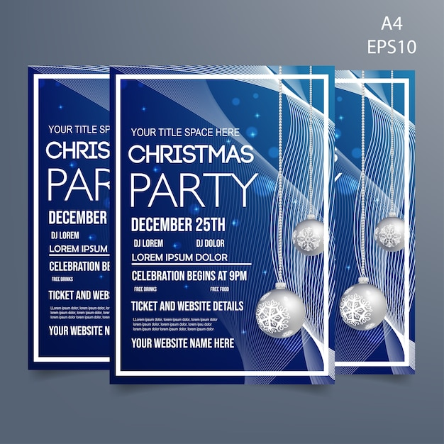 Christmas party flyer template Premium Vector