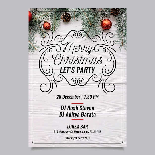 Christmas party flyer with photo Free Vector