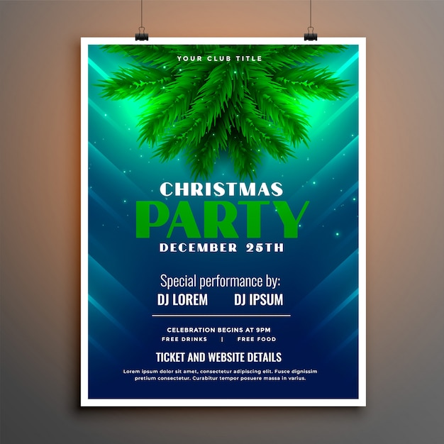 Christmas party flyer with pine tree leaves Free Vector