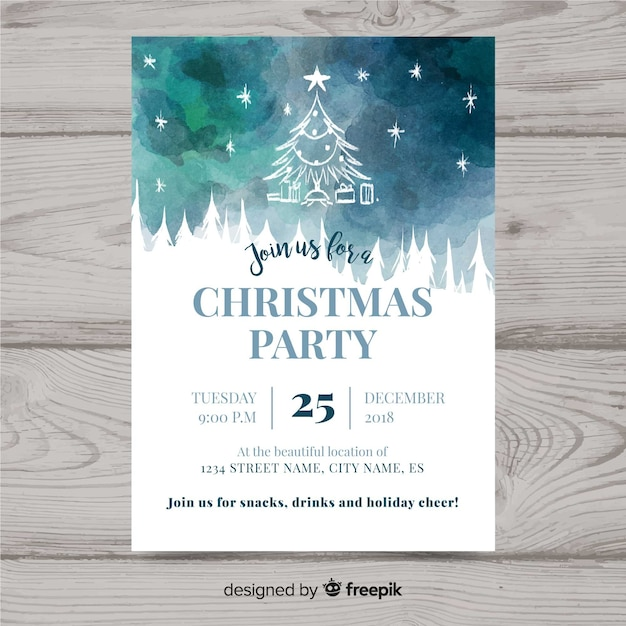 Christmas party flyer Free Vector