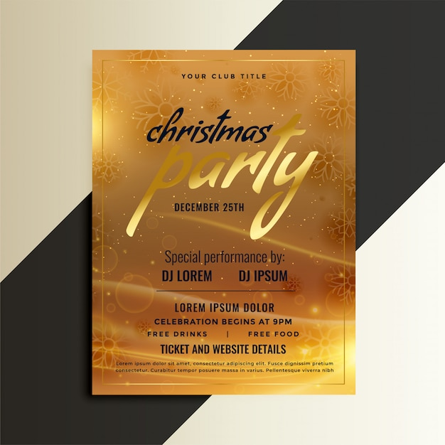 christmas party golden flyer template design vector free download