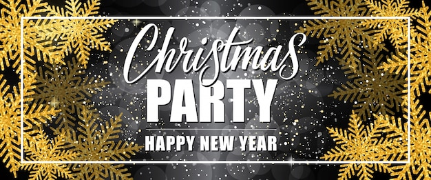 christmas party happy new year lettering in border free vector