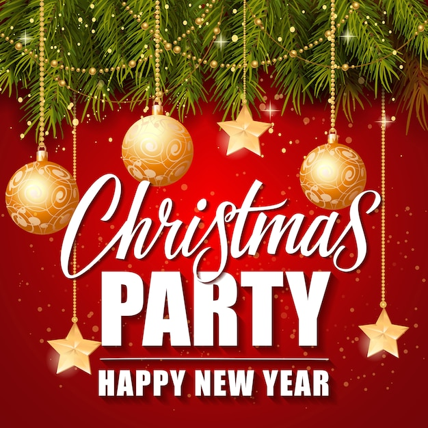Christmas Party Happy New Year Lettering Free Vector