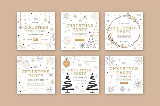 Рождественская вечеринка в instagram Бесплатные векторы