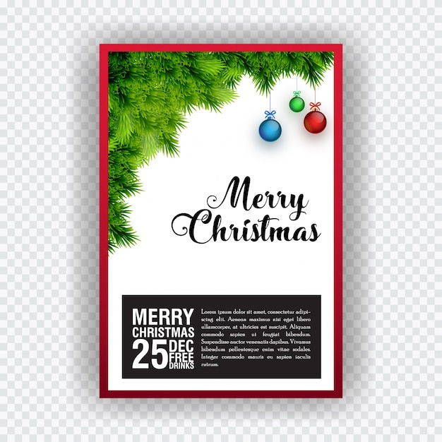 Christmas party invitation card design elements are grass and christmas party invitation card design elements are grass and hanging christmas balls free vector stopboris Image collections
