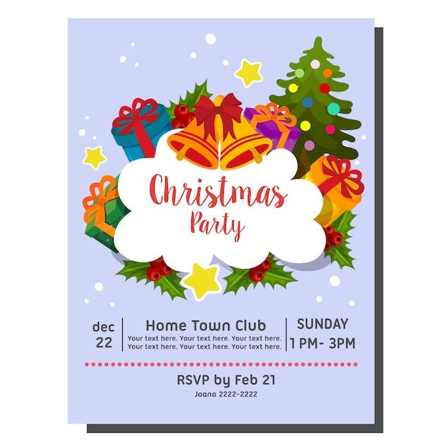 Christmas Party Invitation Card Happy Santa Vector Premium