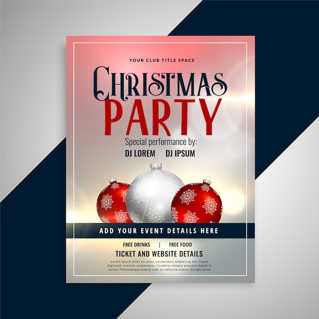 christmas party invitation flyer template design vector free download
