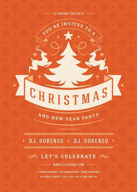 クリスマスパーティーの招待状のレトロなタイポグラフィと装飾要素。クリスマスホリデーイベントのチラシやポスター。 Premiumベクター