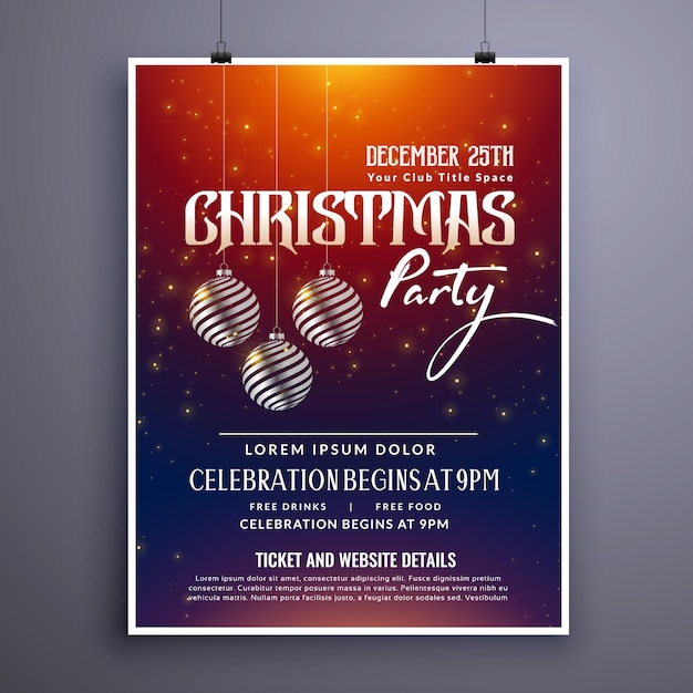 Christmas Party Invitation Template Design With Hanging Balls Free Vector  Christmas Party Ticket Template Free