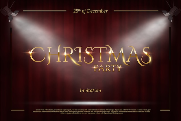 Christmas party invitation template, golden frame with spot lights on red curtain background. Premium Vector
