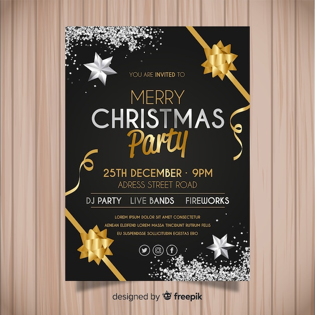 Christmas party invitation template Free Vector