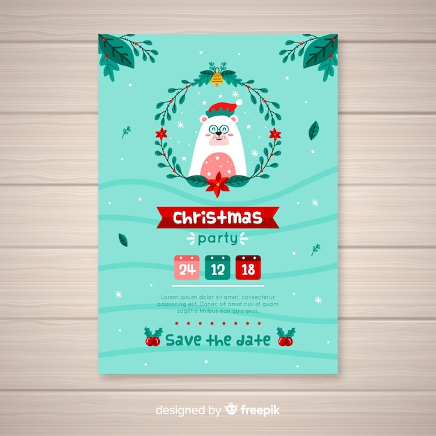 Christmas Save The Date Free.Christmas Party Invitation Template Vector Free Download