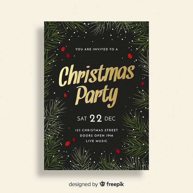 christmas party invitation template vector