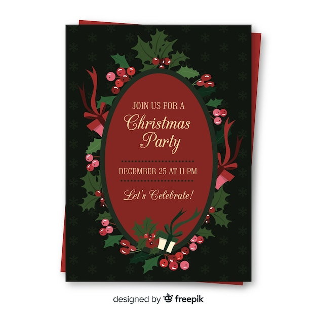 christmas party invitation template vector free download