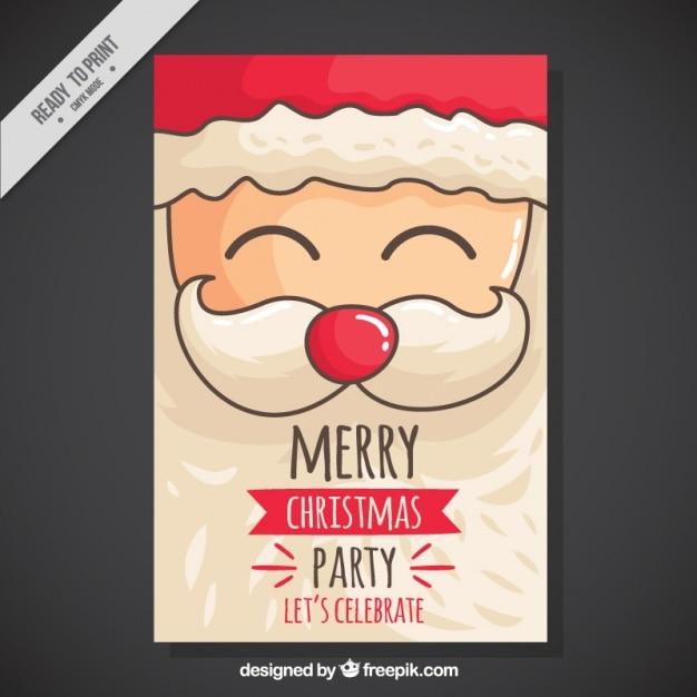 Christmas party invitation with hand drawn cheerful santa Free Vector