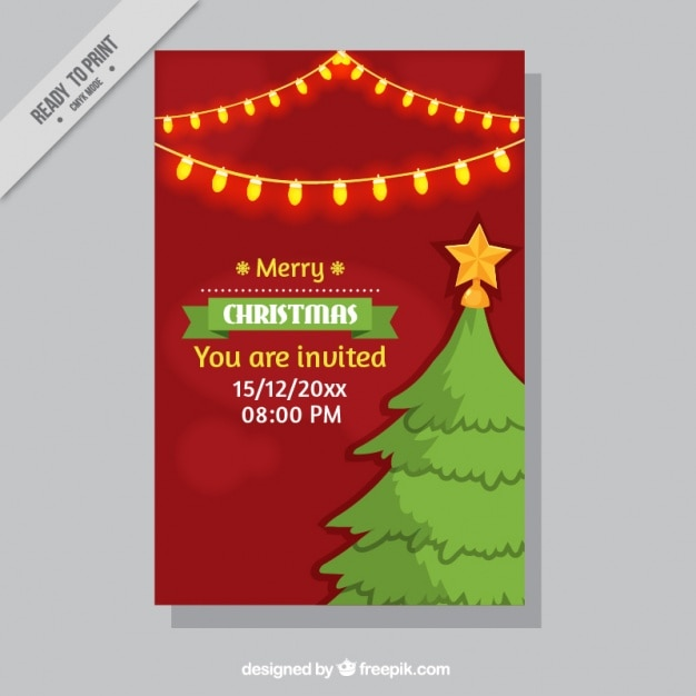 Christmas party invitation with tree and lights Vector – Free Christmas Party Invites