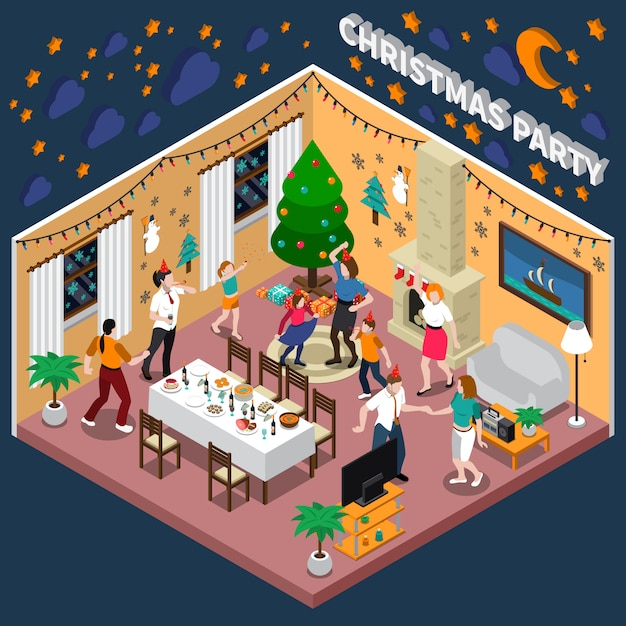 Christmas party isometric illustration Free Vector