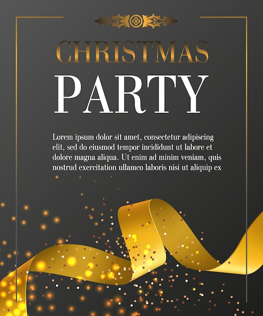 Christmas party lettering in frame on black background Free Vector
