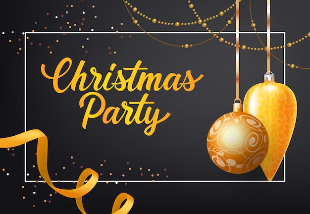 Christmas party poster design. gold baubles, chains Free Vector