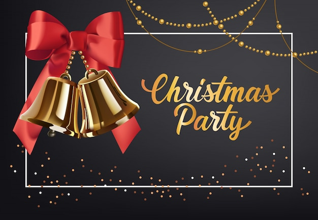 Christmas party poster design. gold jingles with red bow Free Vector