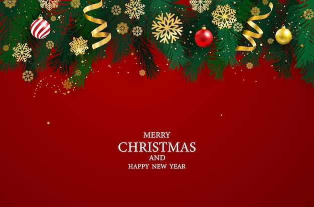 Christmas party poster and happy new year background. Premium Vector