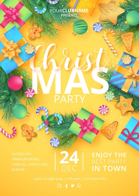 Christmas party poster ready to print Free Vector