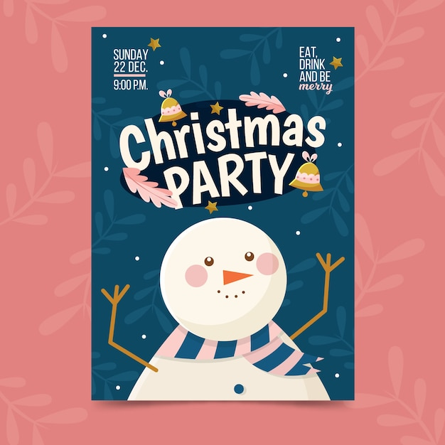 Christmas party poster template in flat design Free Vector