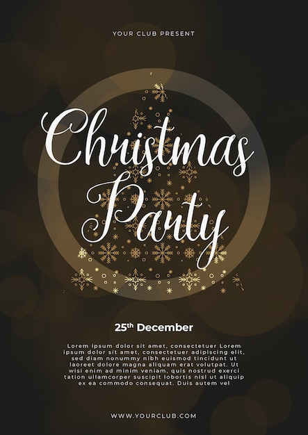 Christmas party poster template, gold and silver on black with written lettering Free Vector