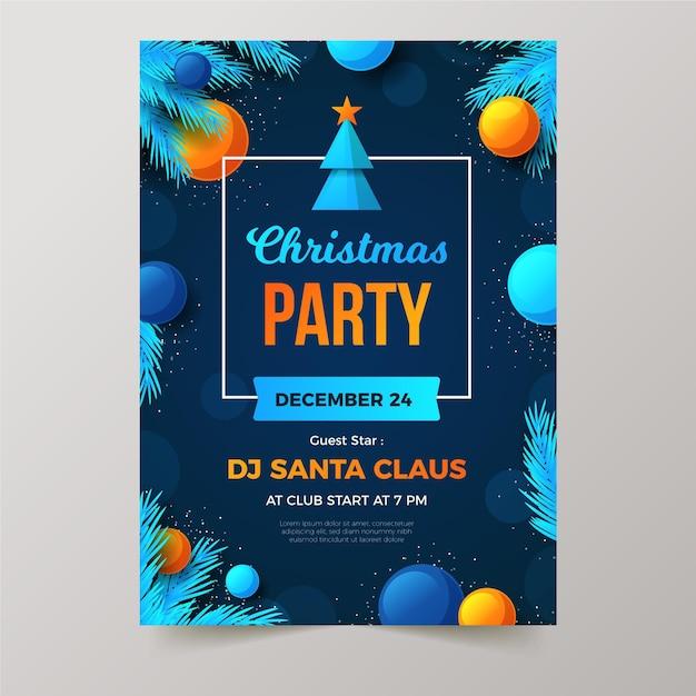 Шаблон плаката рождественской вечеринки в плоском дизайне Premium векторы