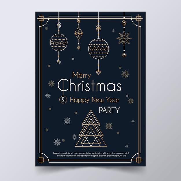 アウトラインスタイルのクリスマスパーティーポスターテンプレート 無料ベクター