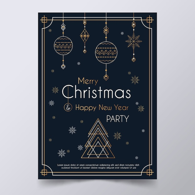 Christmas Party Games 2020.Christmas Party Poster Template In Outline Style Vector