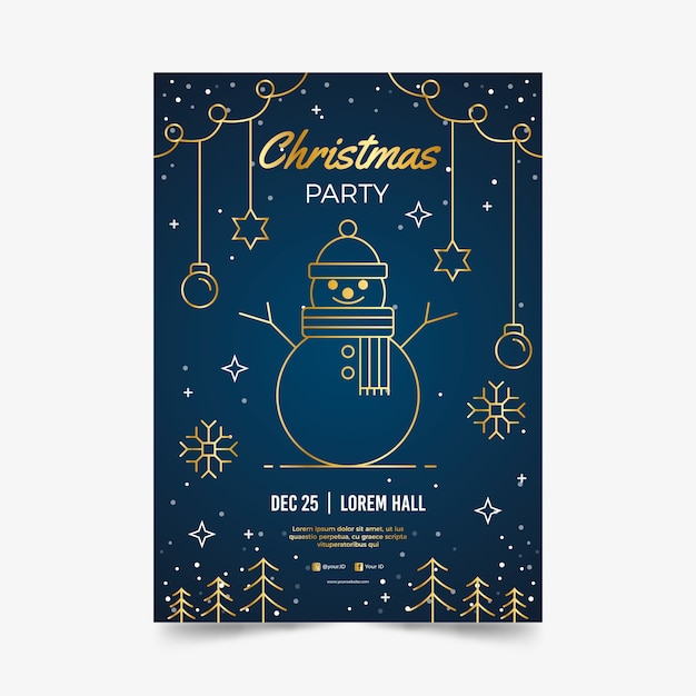Christmas party poster template in outline style Free Vector