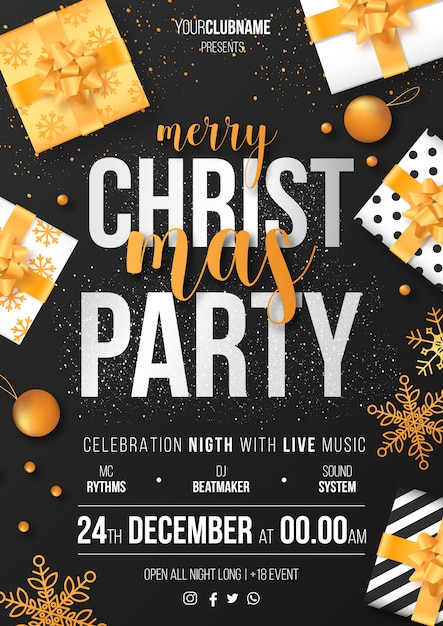 Christmas party poster template ready to print Free Vector