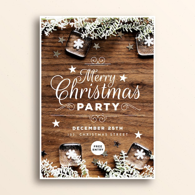 Christmas party poster template with image Free Vector