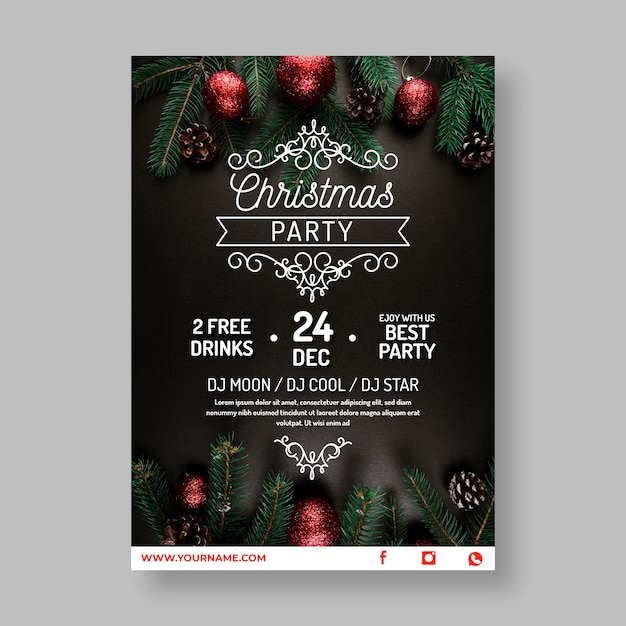 Save The Date Christmas Party Template Free.Christmas Party Poster Template With Photo Vector Free