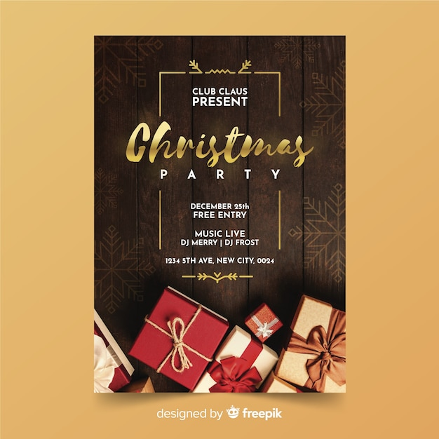 Christmas Party Save The Date Template.Christmas Party Poster Template With Photo Vector Free