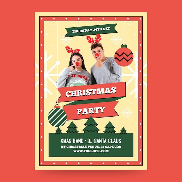 Шаблон плаката рождественской вечеринки с фото Premium векторы