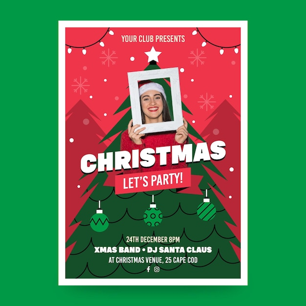 Christmas party poster template with photo Premium Vector