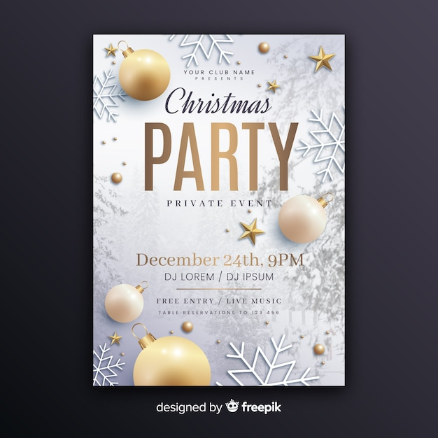 Christmas party poster template with photo Free Vector