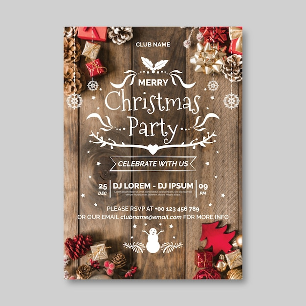 Christmas party poster template with picture Free Vector