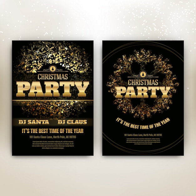 Christmas Party Poster Template with Shining Lights - Black and Gold Premium Vector