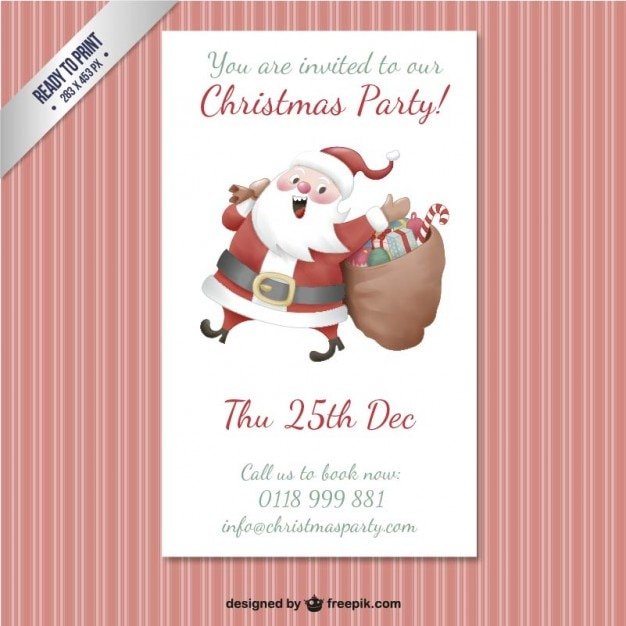 Christmas party poster template Free Vector
