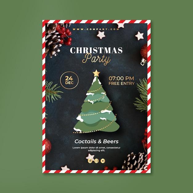 크리스마스 파티 포스터 템플릿 무료 벡터